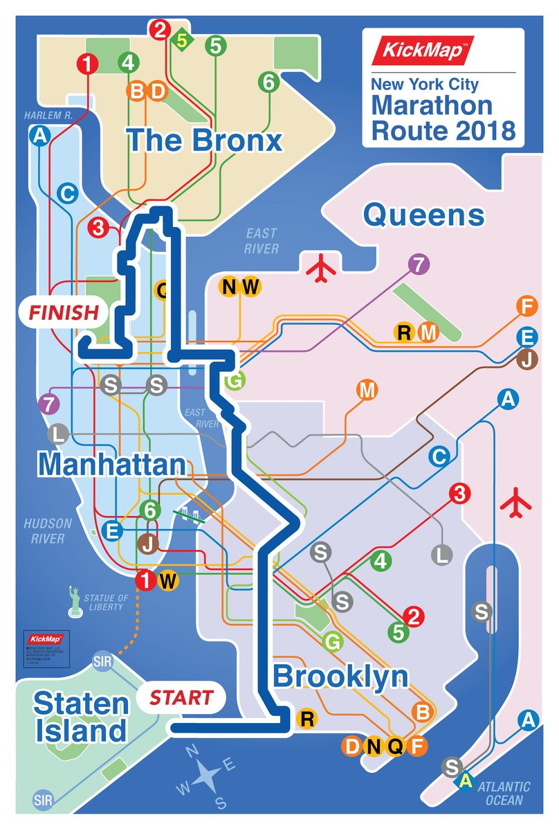Marathon Subway Map.Kickmap On Twitter Keep The Car Home Today S Nyc Marathon Route
