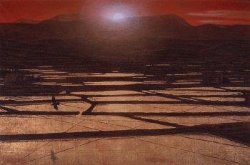"山種美術館 on Twitter: ""岩橋英遠《暎》(山種美術館)。夕陽で赤く染め ..."