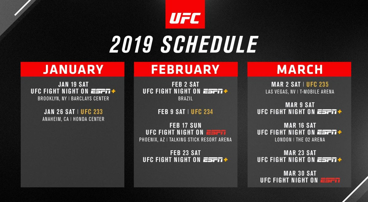 ufc event schedule january - march 2019 | sherdog forums | ufc, mma