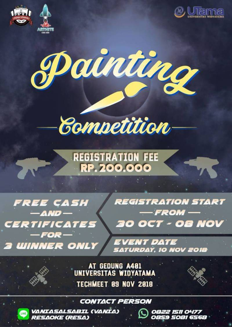 ⚠️ALL TALENT LISTEN UP⚠️  🖌FOR YOU PAINT LOVERS 🖌  It's time to paint enthusiasts to show your talent about painting . . Join us ❗ . . We are opended registration from  📅 30 - 8 November 2018 . . (1/2)