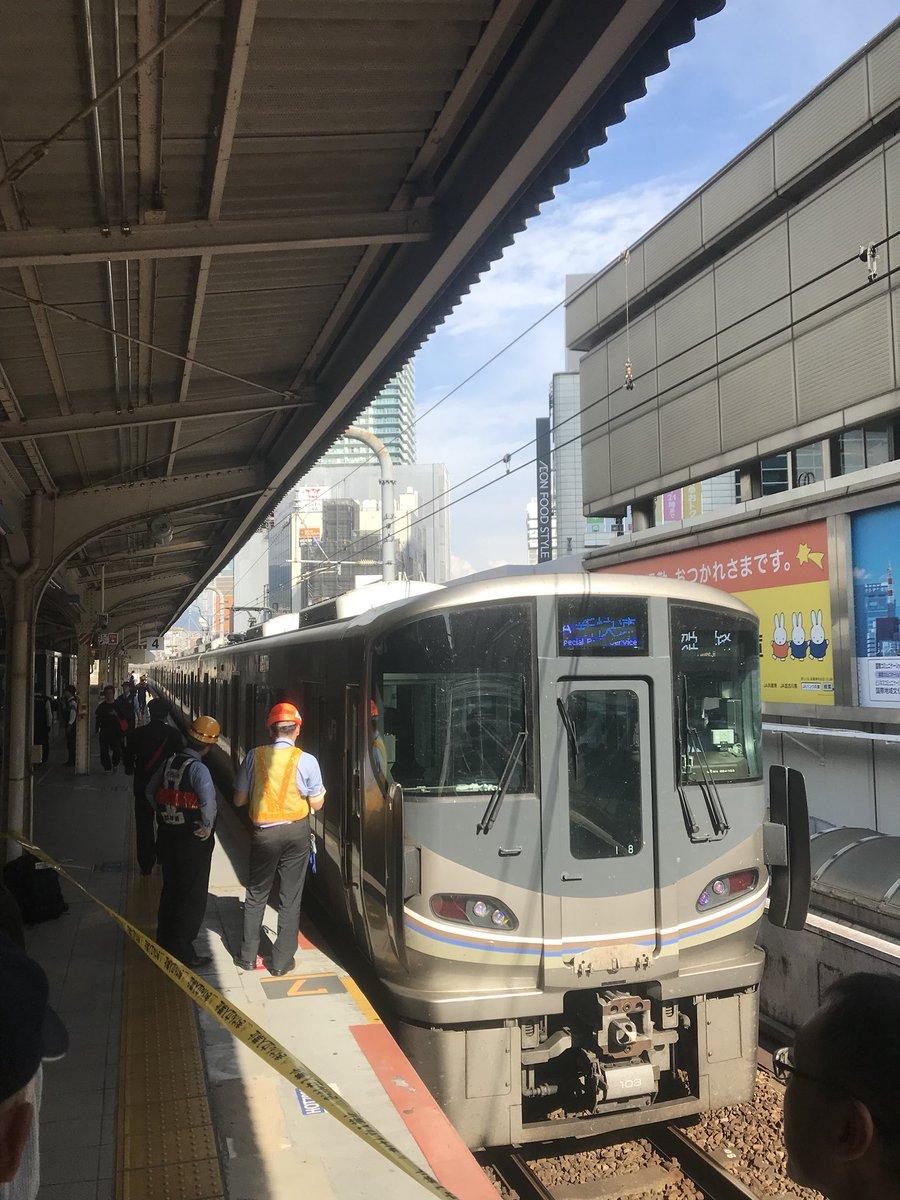 三ノ宮駅で電車と人が接触した人身事故現場の画像