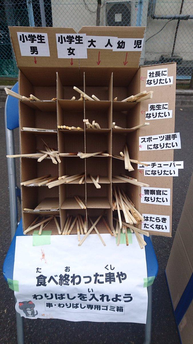 地元の小学校のお祭りの箸ごみ入れ。なかなか面白い。 大人→はたらきたくない に何本か入っている。