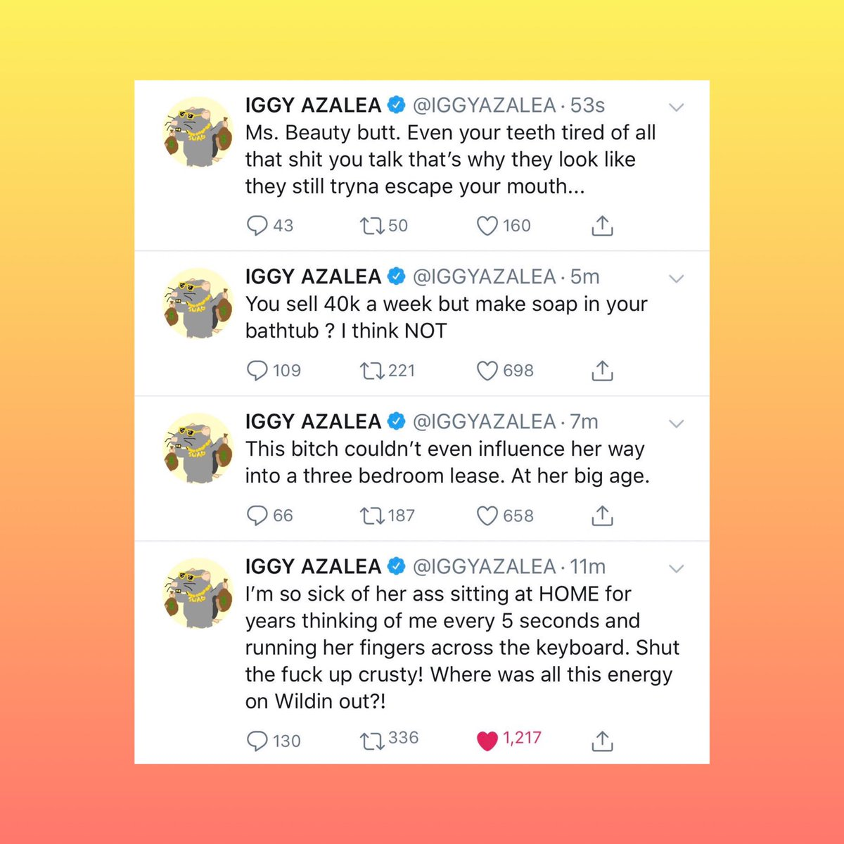 Pop Crave On Twitter Iggy Azalea Claps Back At Azealia Banks On Twitter Where Was All This Energy On Wild N Out