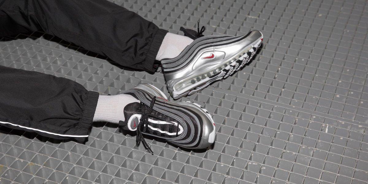 billig Nike Air Max 97 QS BlackVarsity Red Metallic Silver