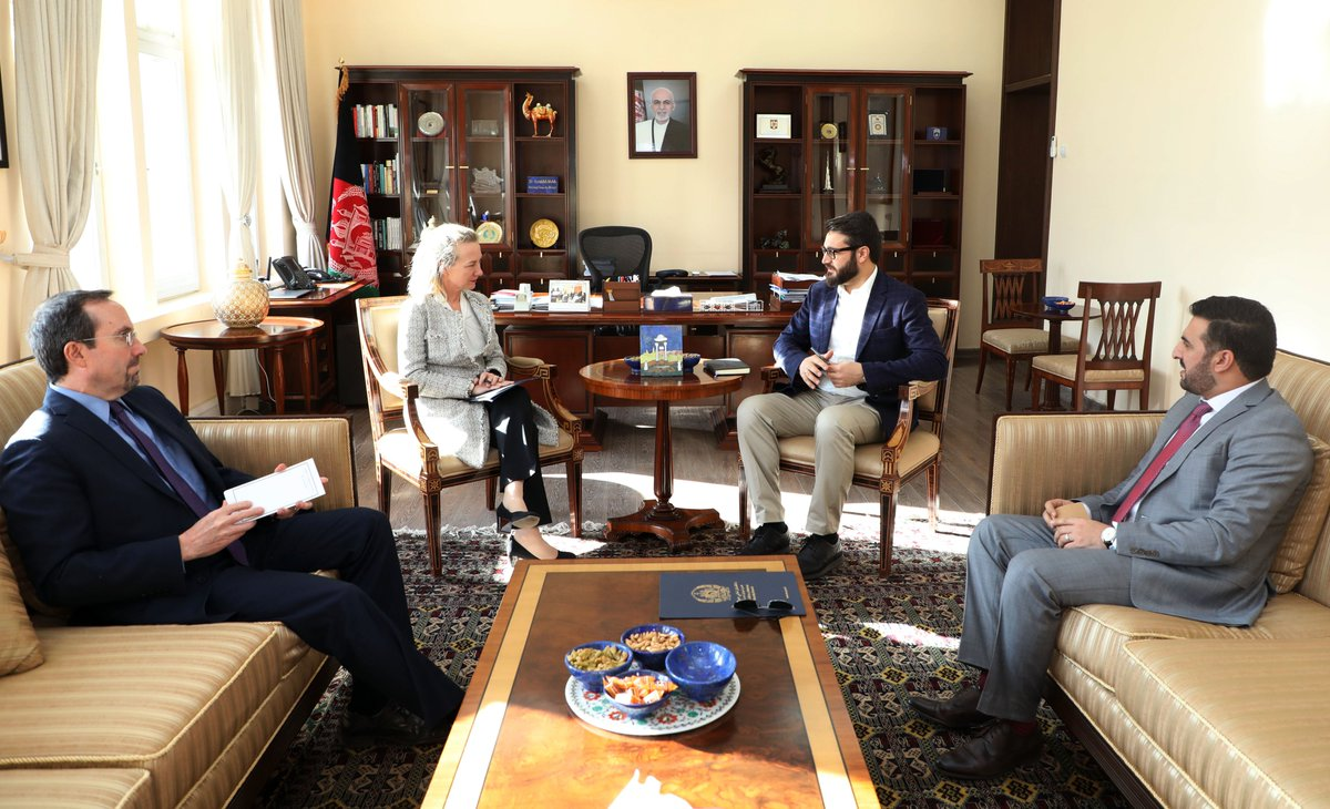NSA @HMohib met with Principle Deputy Assistant Secretary Alice Wells. They discussed security, peace, regional cooperation on the fight against terrorism and regional trade. NSA Mohib thanked Ms Wells for US's continued support to the ANDSF.