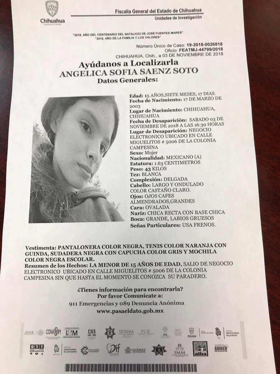 "Angelica Sofia Saenz laura alanis villafuerte on twitter: ""se busca a angélica"