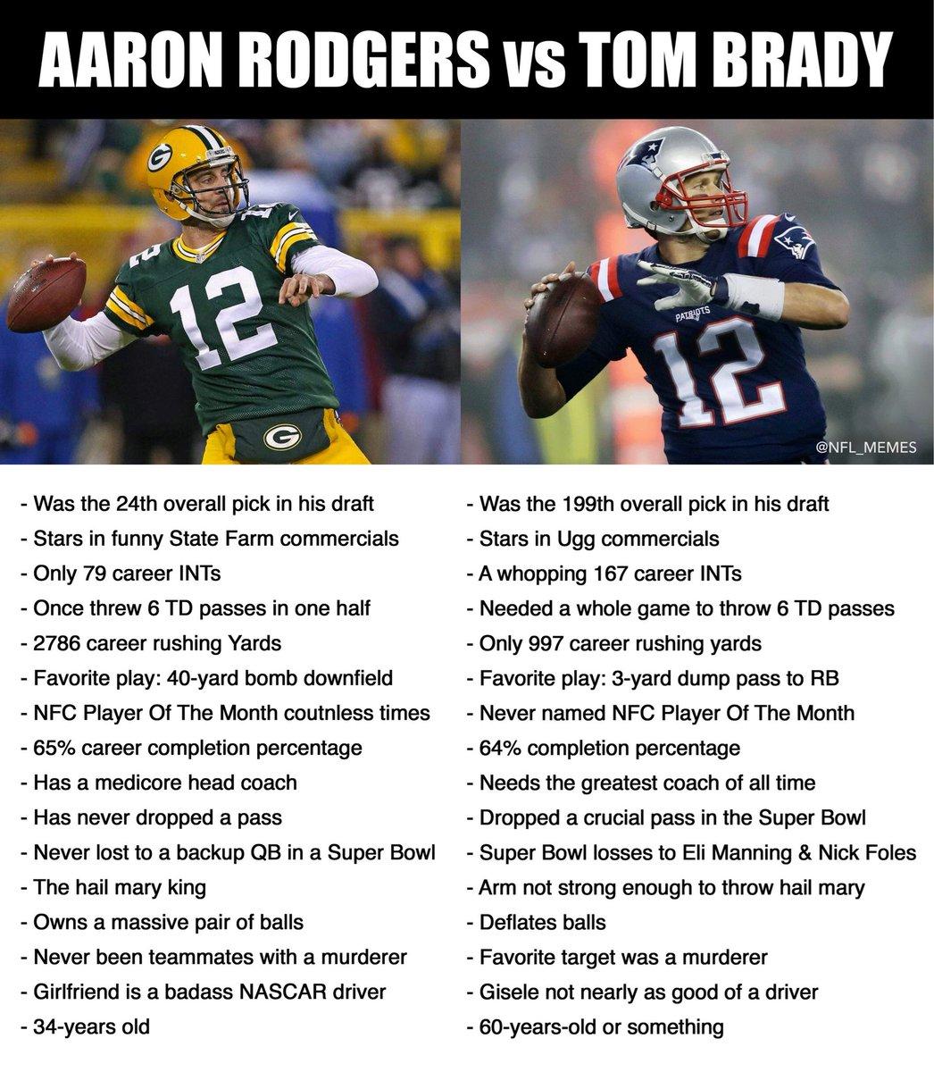 Nfl Memes On Twitter Rodgers Vs Brady A Comprehensive Comparison