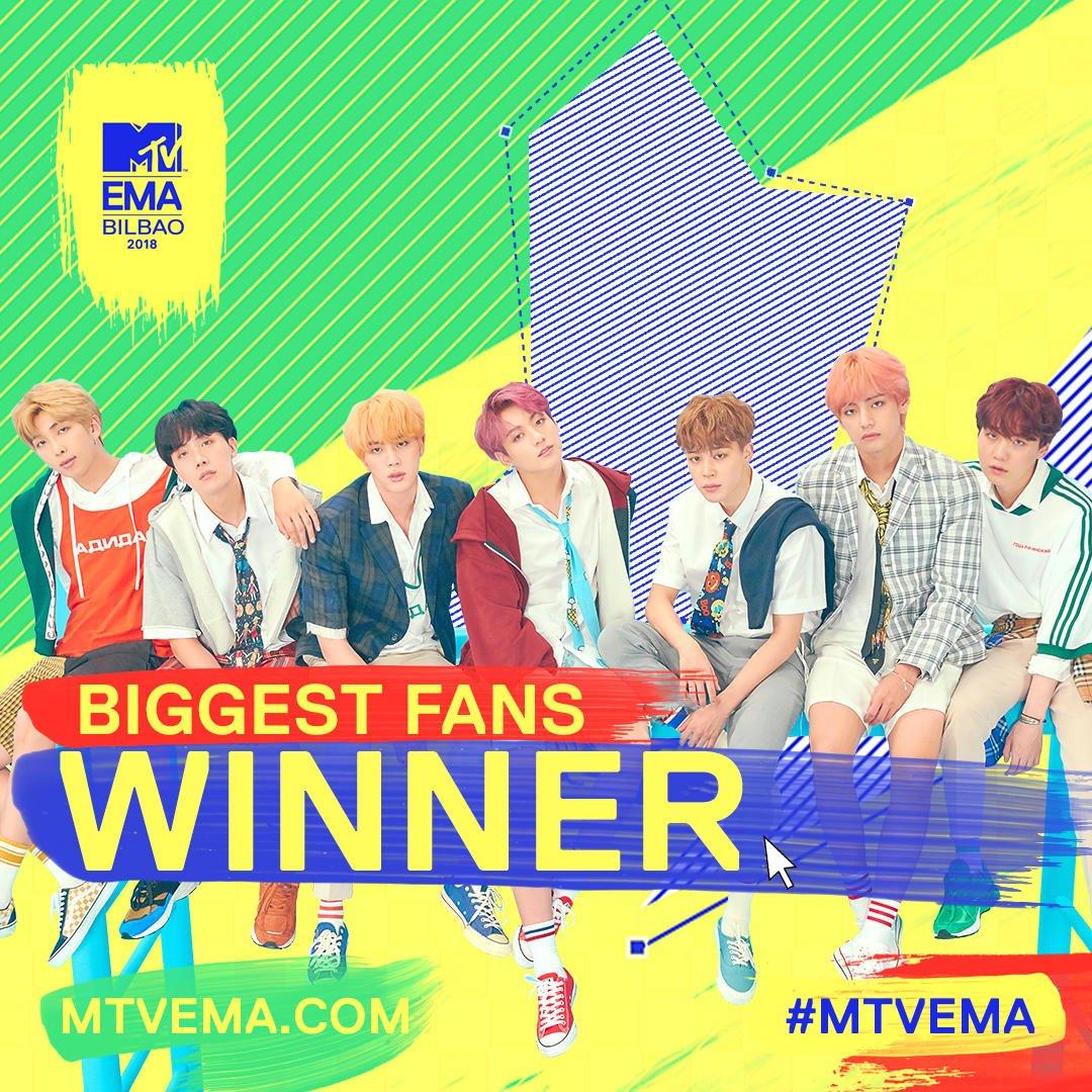 Hey hey, i BTS hanno vinto #MTVEMABiggestFansBTS, tutto grazie a voi! #MTVEMA