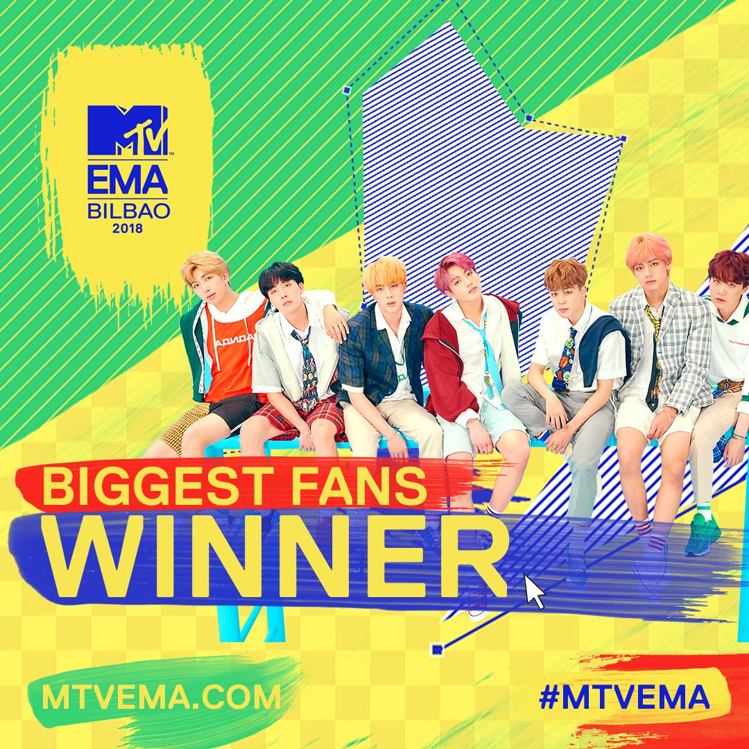Huge congrats to @BTS_twt and #BTSARMY on winning #MTVEMA BIGGEST FANS 🏆💜