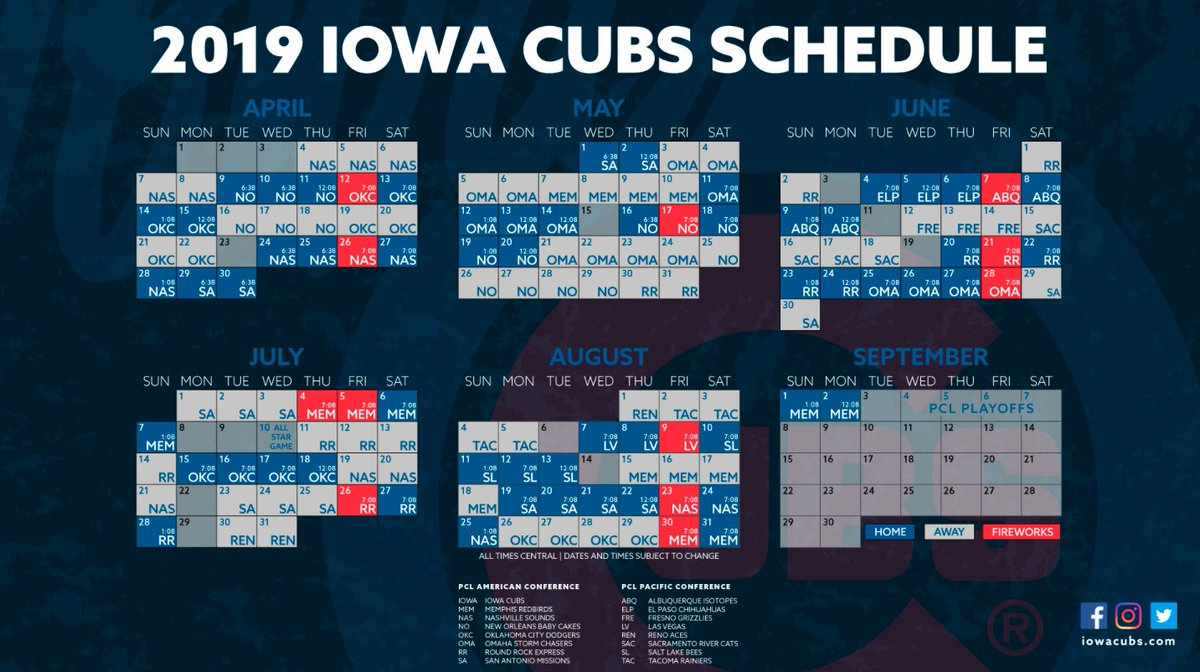 Icubs 2019 Schedule Iowa Cubs on Twitter: