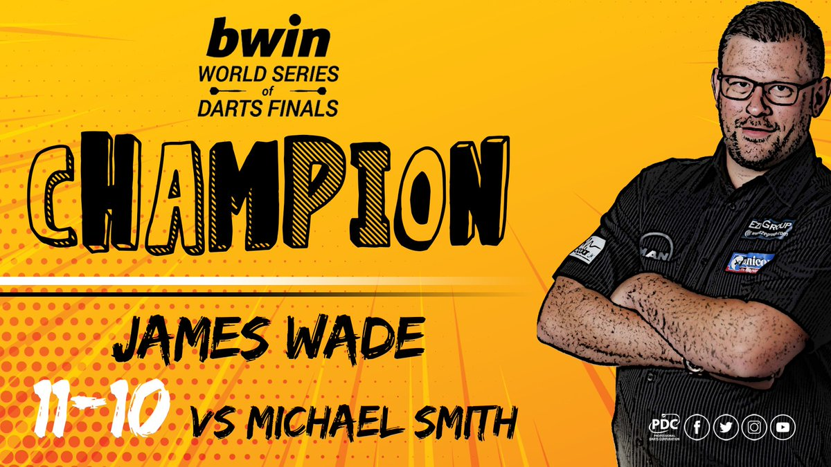 CHAMPION!!! 🏆 James Wade makes it back-to-back PDC televised titles as he beats Michael Smith 11-10 to be crowned the 2018 @bwin World Series of Darts Finals Champion. #bwinDarts