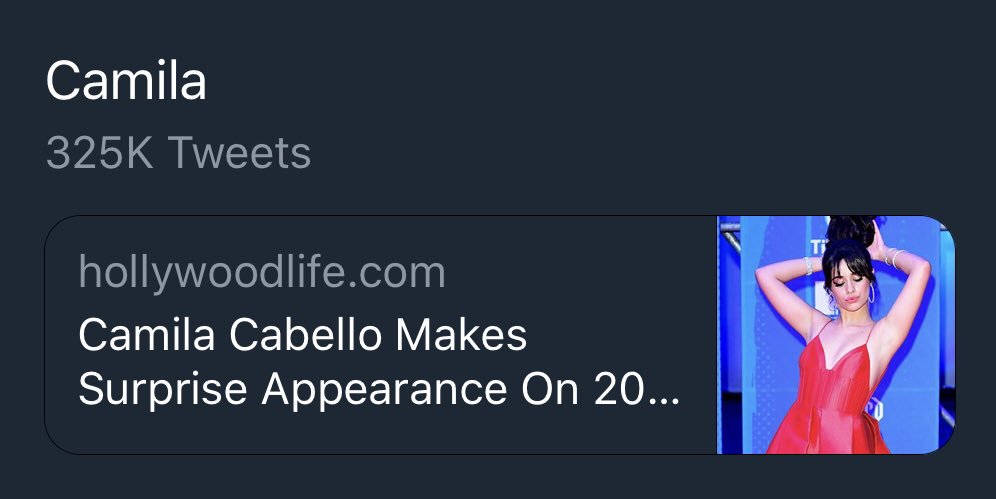 'Camila' is currently trending in select countries around the world, with over 325,000 tweets! https://t.co/2wywL4PUWo