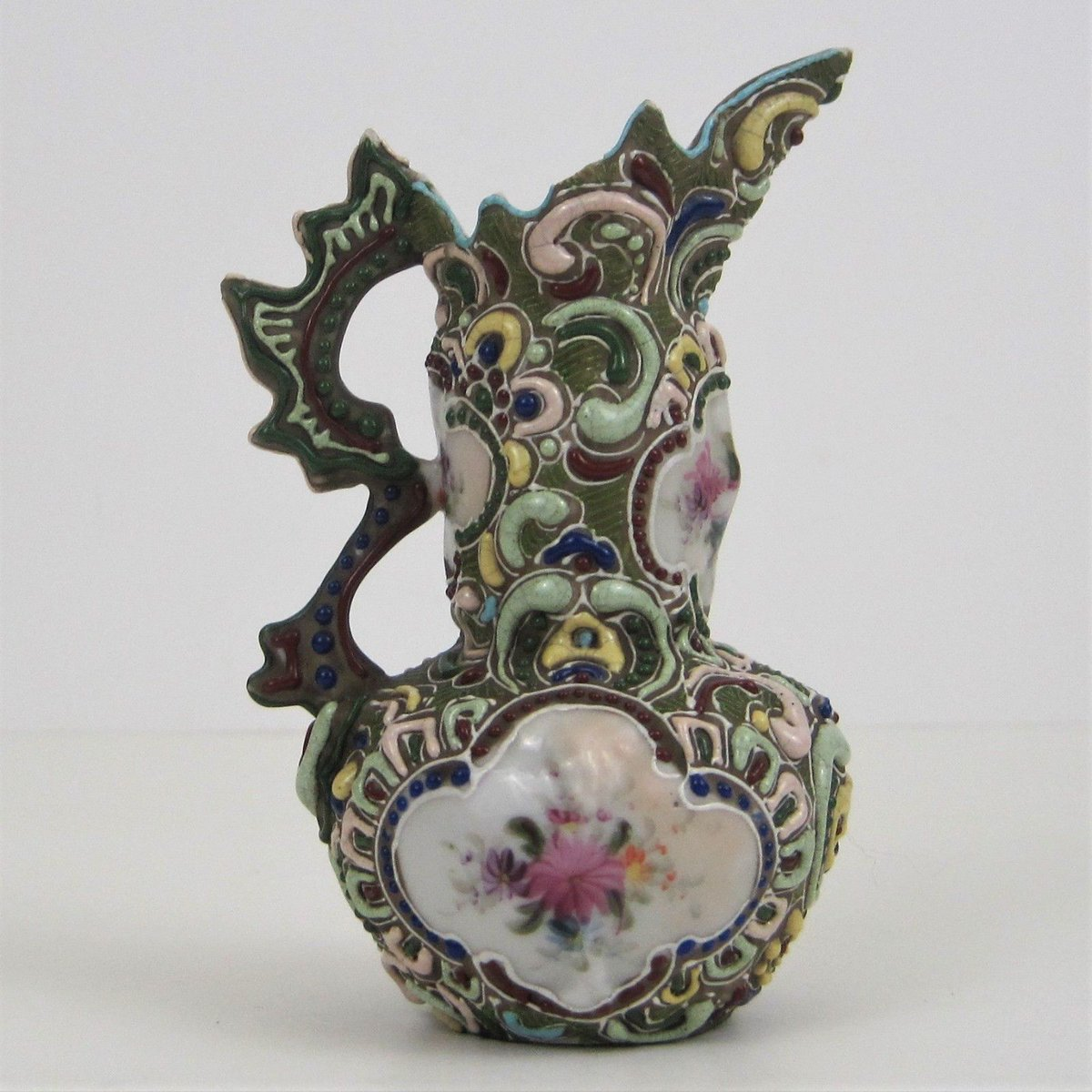 #Antique Nippon Heavy Moriage Small Pitcher Ewer Long Neck Asian Floral  Motifs 4