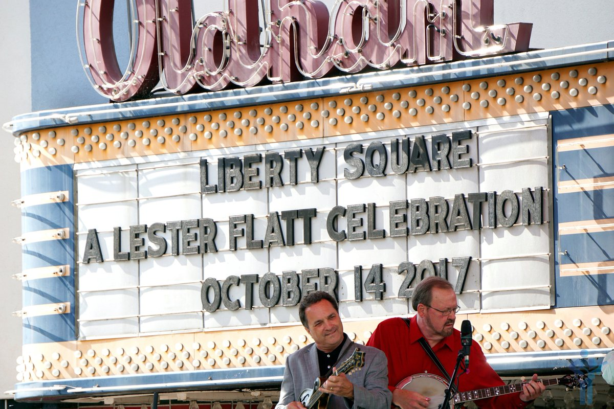 #TheLarryStephensonBand with the great #KennyIngram performing in front of the Oldham Theater in Liberty Square in #Sparta, #Tennessee, the hometown of #LesterFlatt, during the annual A Lester Flatt Celebration. #bluegrass #mygrassisblue #bluegrassmusic #bluegrassfestival #TN<br>http://pic.twitter.com/6qIAylWv3C