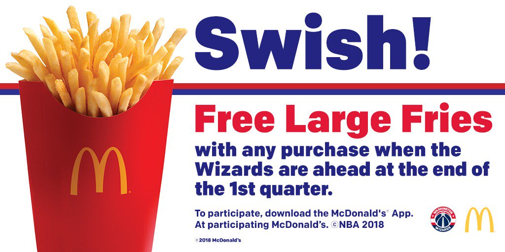 With tonight's Q1 lead, you get FREE fries tomorrow on the @McDonalds_DMV app!  #WizNets | #DCFamily