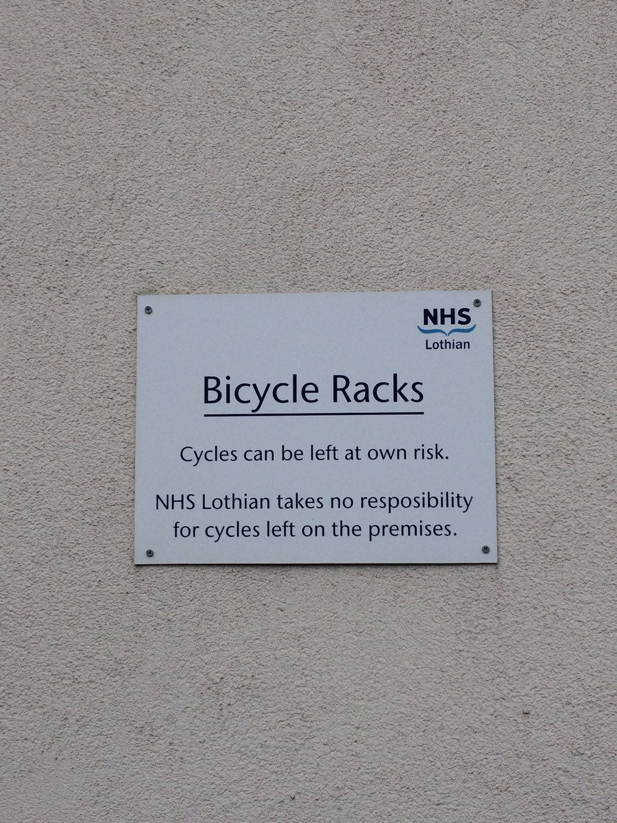 Imagine if this sign said 'NHS Lothian would like to thank you for cycling today. Please let us know if we can improve our facilities for you'
