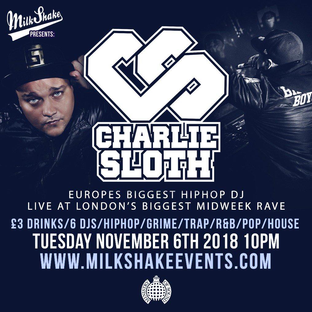 Man like @CharlieSloth is BACK tomorrow at @iLoveMilkshake @Ministry_Club 😱 Last minute tickets online here: bit.ly/SlothTickets