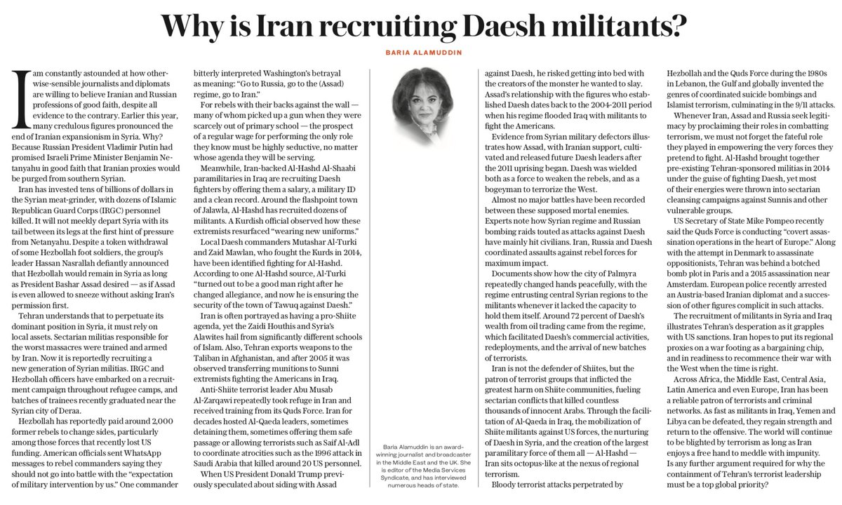 OP-ED: #Iran hopes to put its regional proxies on a war footing as a bargaining chip, and in readiness to recommence their war with the West when the time is right, writes Baria Alamuddin https://t.co/IT4CaH8iZs #terrorsponsor