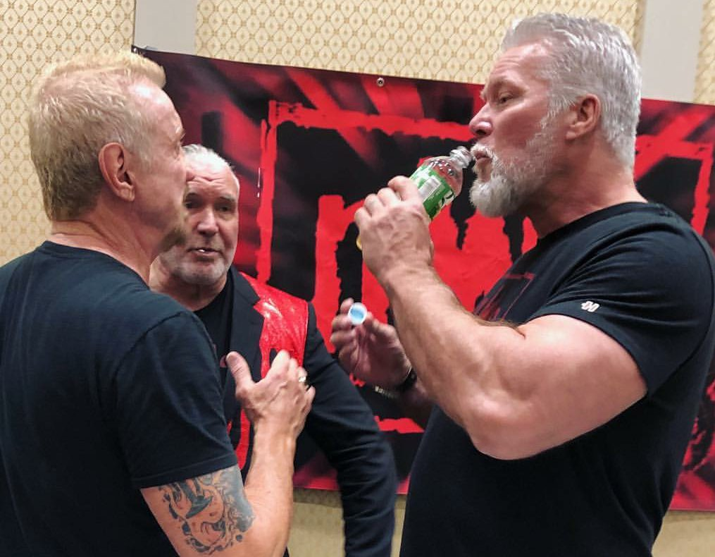 @DDPYoga and @SCOTTHALLNWO and myself rehash why he rejected us in New Orleans. Actually were saying @chrisjerichofozzy is running hard and proud for us dinosaurs. Keep killing it........Broham!