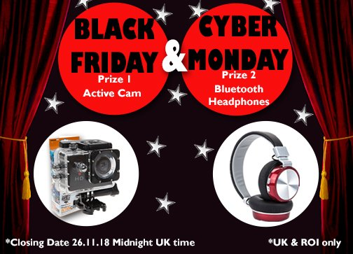 Its time for our #BlackFriday & #CyberMonday #Giveaway 2 Prizes, 2 #Winners 🥳 For a chance to #win one of these #prizes ⭐️Follow,Like,RT⭐️ Winners drawn at random & will be notified on Tuesday 27.11.18 Good Luck 🤞 #Competition #MondayMotivation #CompetitionTime