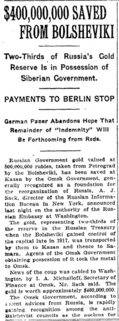 Nov 5, 1918 - New York Times: Anti-Soviet government in Siberia has 2/3 of Russia's gold reserves; Soviet regime cuts off (Brest-Litovsk Treaty) reparation payments to Germany (what are the Germans gonna do about it now) #100yearsago