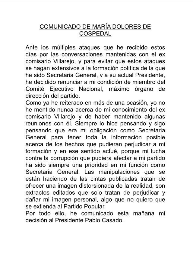 María Dolores de Cospedal deja la ejecutiva del PP: el comunicado