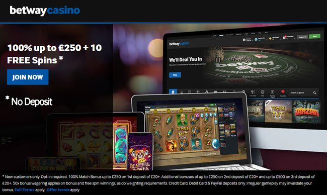 10 no deposit free spins at Betway