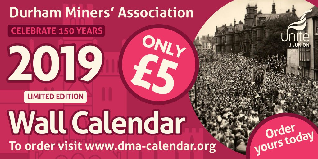 Plan the future by remembering key moments in working class history >> Celebrate 150 years of the @DurhamMiners with this limited edition calendar – Start your week by ordering your copy today - for the bargain price of £5 dma-calendar.org