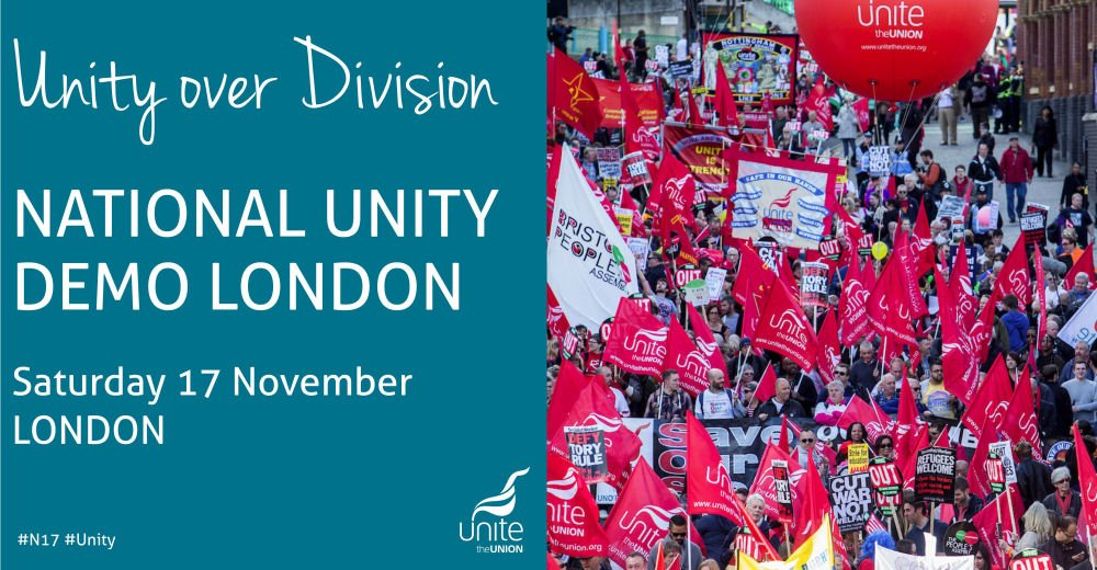 This Saturday! Have you booked your FREE seat yet? >> Stand up to racism and against hate and march with us on Saturday 17 November unitetheunion.org/news-events/ev… #N17Unity #NoRacismNoFascism