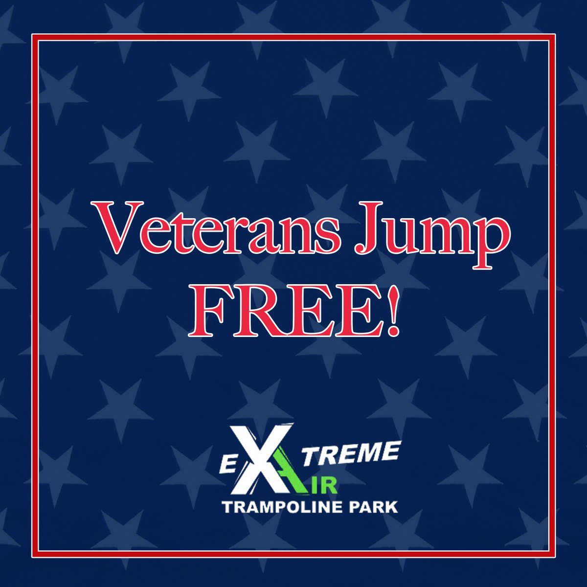 Extreme Air Trampoline Parks is proud to announce a new company-wide policy. As a thank you for their service, we will now allow active military members and veterans to jump for free! PLUS, their group (must be on one bill) will jump for 50% off. #ExtremeAir #veterandiscount