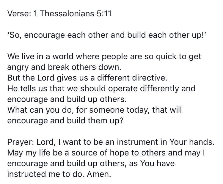 #WordForTheDay 1 Thessalonians 5 vs 11 https://t.co/8014WO93EM