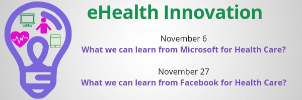 """50% Discount on tomorrow's session! Microsoft has been able to remain agile in innovation for several decades. What can health care learn to help keep at the forefront of innovation? Use Code """"Twitter"""" for 50% off https://www.regonline.ca/registration/Checkin.aspx?EventID=2529344…"""