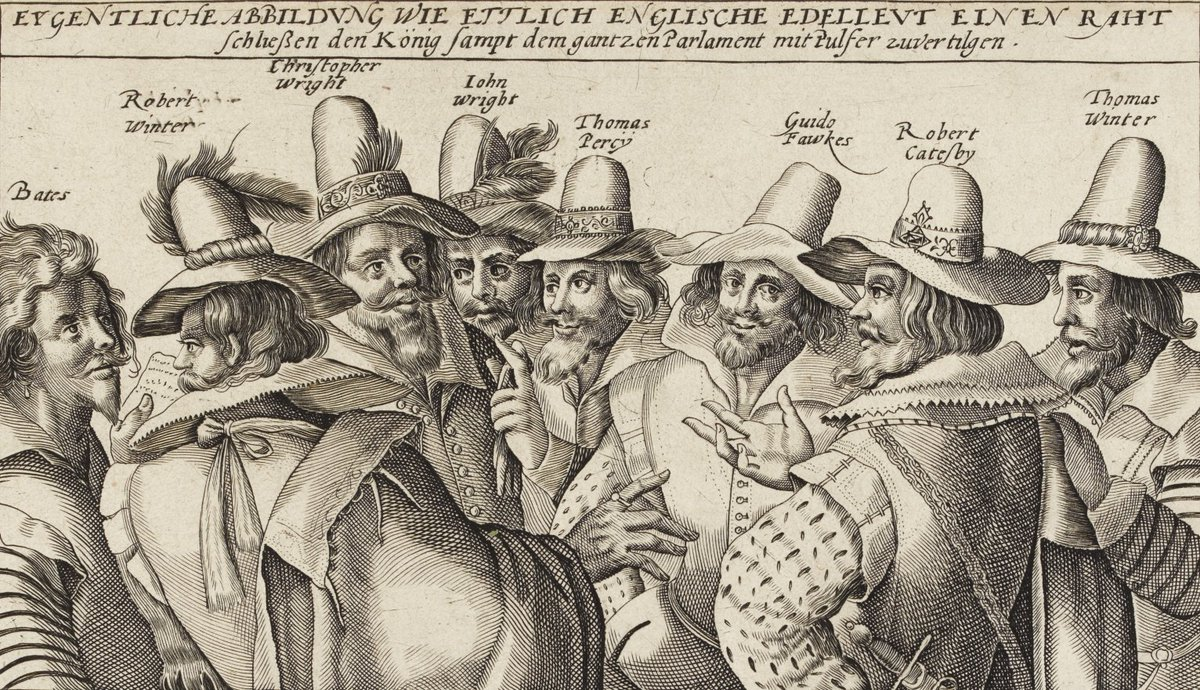 Remember, remember the 5th of November!   This print shows Guy Fawkes and seven other men involved in the Gunpowder Plot in 1605 #GuyFawkesNight