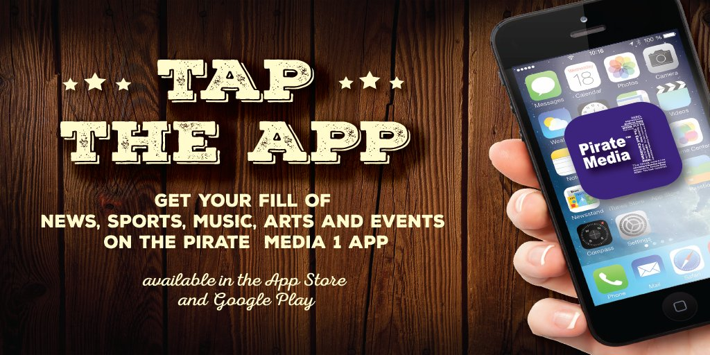 Tap the app and get your fill of news, sports, music, arts and events 24/7 from Pirate Media 1!  Find us on the App Store: https://apple.co/2qswDtQ OR Google Play: http://bit.ly/2OrFpC6