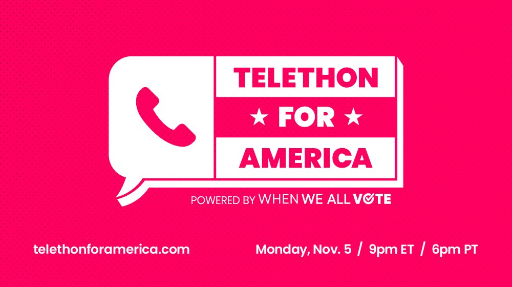 It's the day before #ElectionDay and I want to talk to YOU! Make a plan to vote and you could get a phone call from me during the #TelethonForAmerica powered by @WhenWeAllVote. Watch live TONIGHT at 9pm ET / 6pm PT at http://telethonforamerica.com.