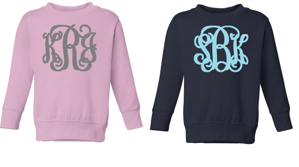 57a31e9b827dc Get these Toddler Sweatshirts in my  etsy shop!  16 Toddlers Monogrammed  Sweatshirts in Various