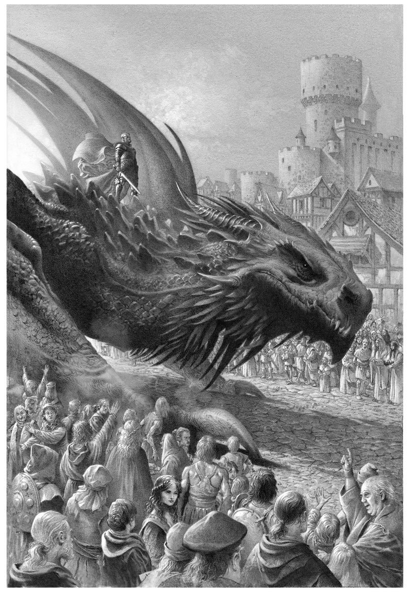 FIRE & BLOOD is filled with new illustrations from @wheatley_doug, featuring Targaryen rulers and their dragons throughout their reign. Here's just a taste of what's inside…