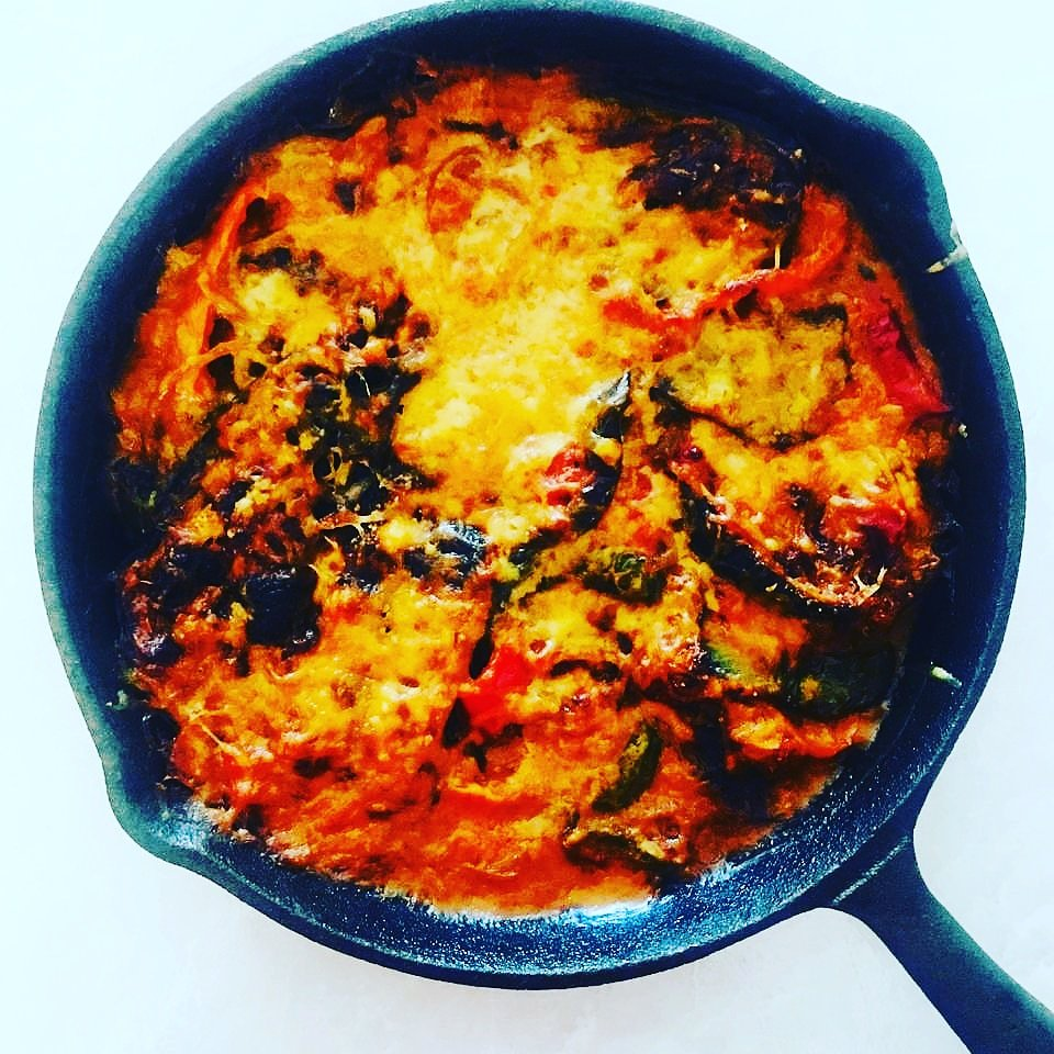 Veggie Bake all in one pan! #vegetables #skillet #baked #food #foodie #eggplant #onions #pepper #recipes https://t.co/G6FHoXOnAS