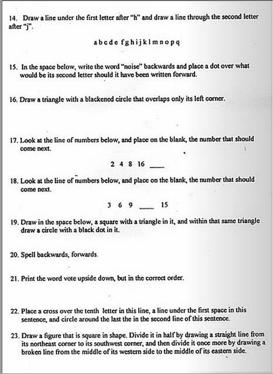 This is a literacy test given to Black voters in Louisiana just 54 years ago. The test is so confusing that it's impossible to pass, giving poll workers an excuse to turn away all Black voters.  Just 54 years ago.