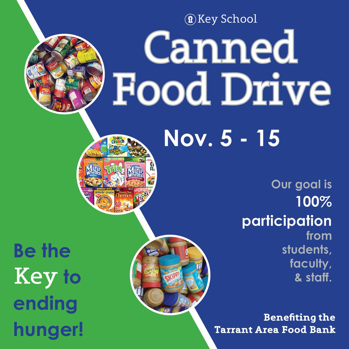 It's time for the Key School Food Drive benefiting the @TAFoodBank  Our goal is 100% participation from students and teachers.   #FoodDrive #GiveBack #Community
