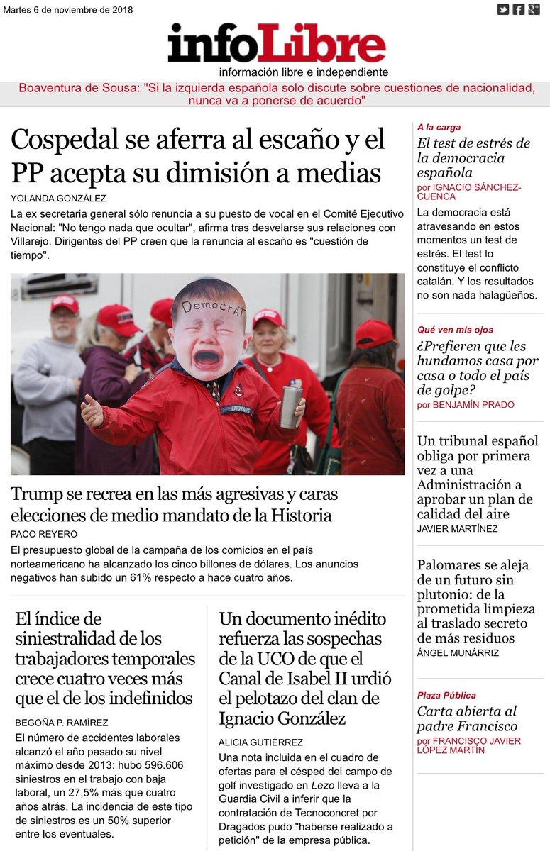 Portada de @_infoLibre: #Cospedal se aferra al escaño y el #PP acepta su dimisión a medias. infolibre.es/noticias/polit…