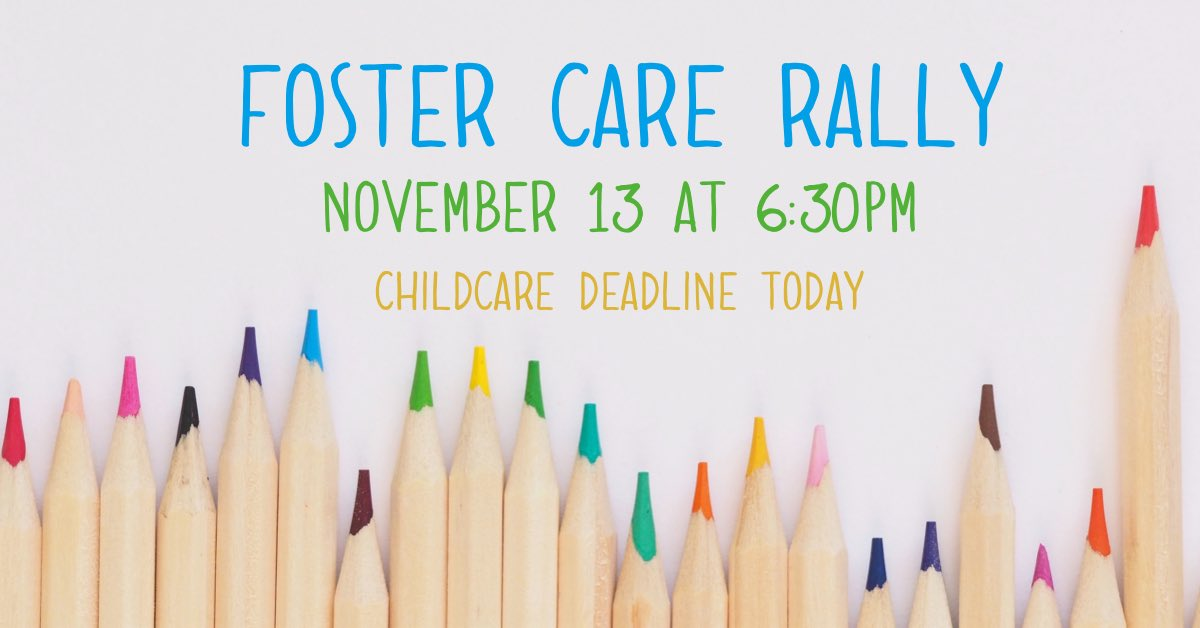 test Twitter Media - We are providing childcare at the Foster Care Rally for children birth-kindergarten. Today is the deadline to register. Visit https://t.co/7gN63tDGd7 to register for childcare! https://t.co/APY4guCpxl
