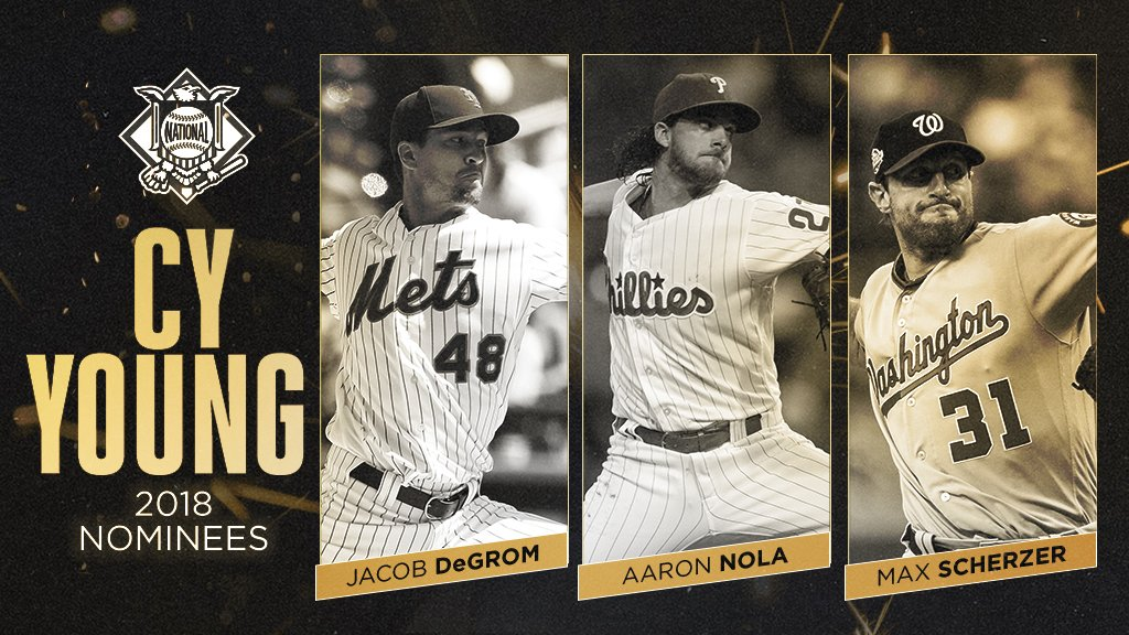 Your 2018 NL Cy Young finalists:  @jdegrom19 @AaronNola027 Max Scherzer https://t.co/ytrc1OlbVP