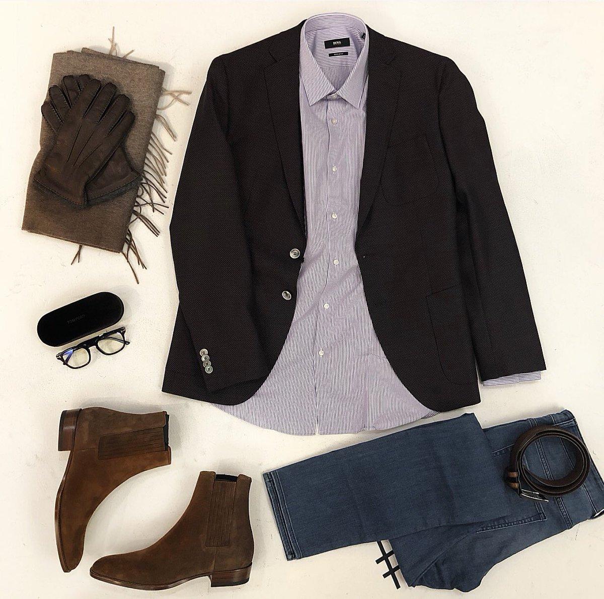 b124f21da12 Style of the day - Casual Layout Blazer: Hugo Boss Shirt: Hugo Boss Jeans: Hugo  Boss Belt: Saks Brand Scarf & Gloves: Saks Brand Glasses: Tom Ford Boots:  ...