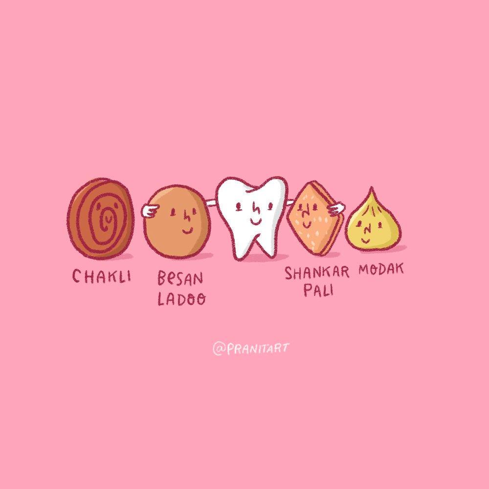 My teeth have made new friends this week :D . . . . . #pranitasdrawingaday #type #goodtypetuesday #illustrationartist #lettering #handlettering #handmadetype #postcards #thegridlife #Diwali #Diwali2018 #chakli #besanladoo #ladoo #shankarpali #faral #diwalifaral