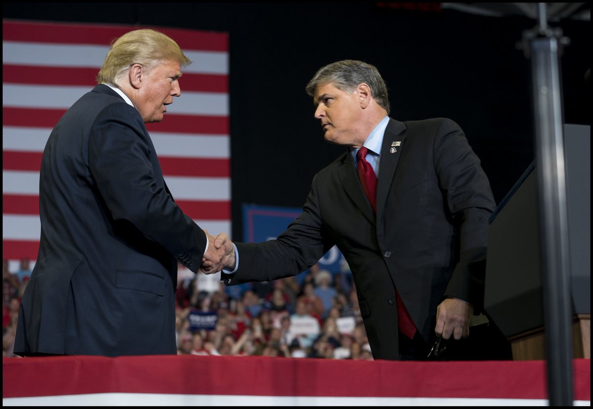 .@realDonaldTrump with FOX talk show host @seanhannity on stage at a 'MAGA' campaign rally in Girardeau, MO.