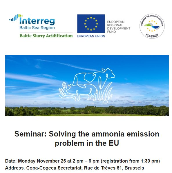 Reducing ammonia emissions from agriculture is a joint challenge that can only be tackled together. Don't miss a seminar on 26 November in #Brussels by #Interreg @BalticSlurry project on using slurry acidification methods to improve the situation. #eutrophication #clearwaters