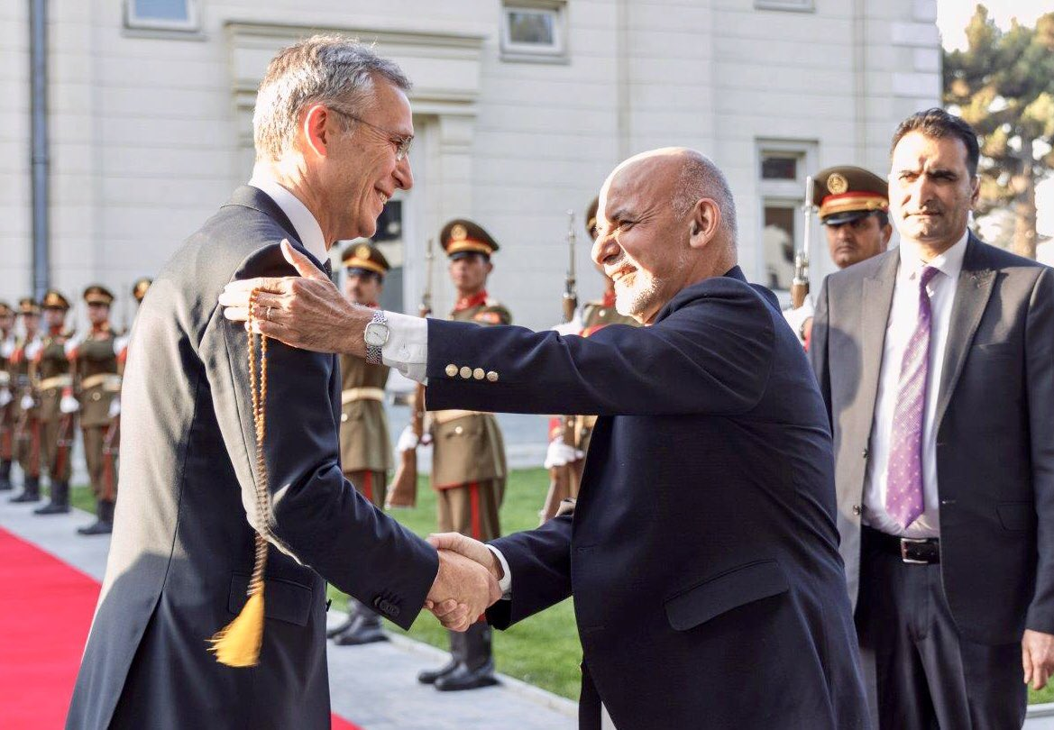 #NATO is determined to see #Afghanistan succeed, and the potential for peace is greater now than in many years. Important meeting today with President @ashrafghani, joined by top military leaders. bit.ly/2Os09cA