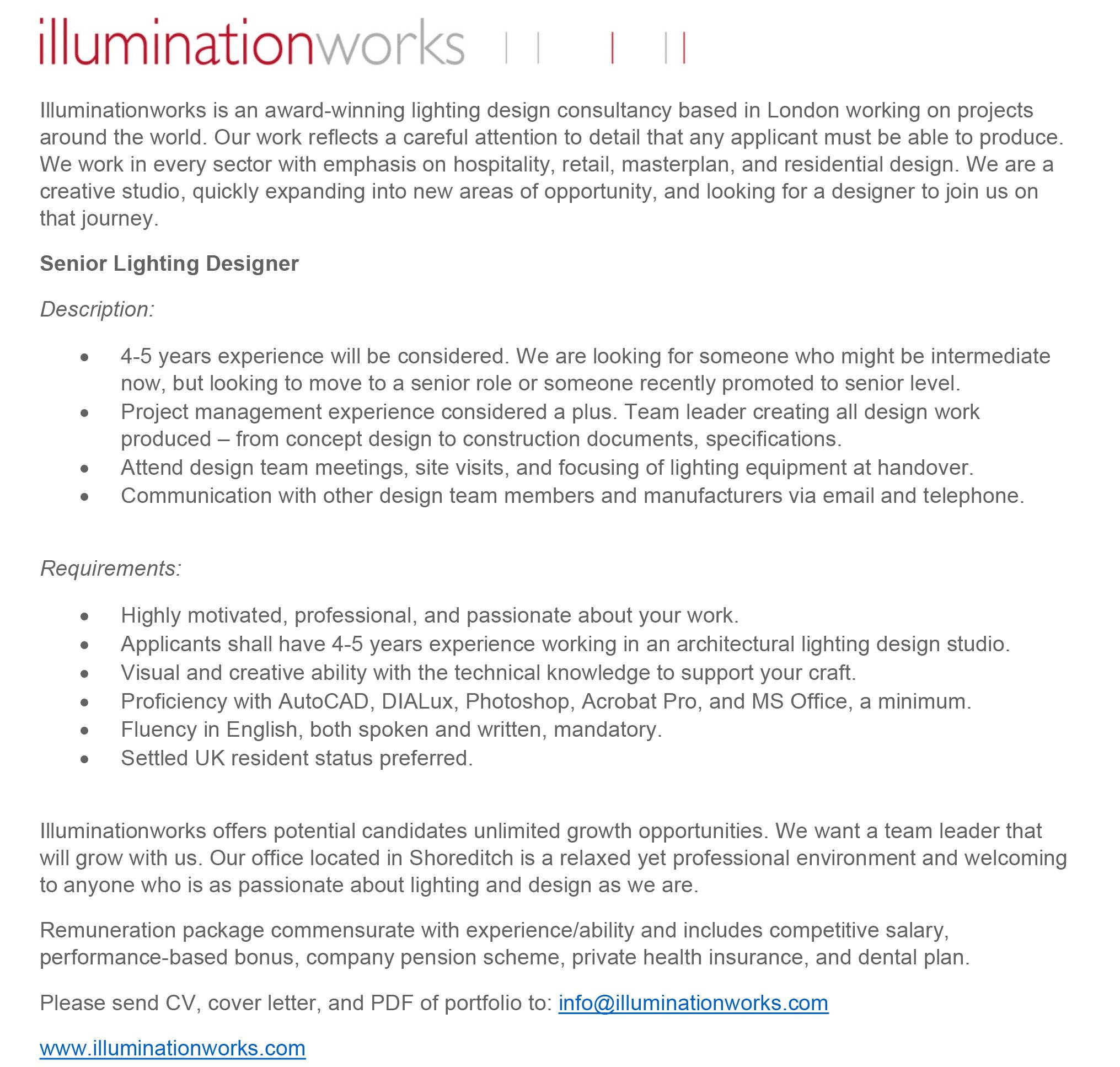 Illuminationworks On Twitter We Are Hiring If You Have 4 5 Years Experience Working As An Architectural Lighting Designer And Interested In Joining Our Team Please Send Your Cv Cover Letter And Pdf