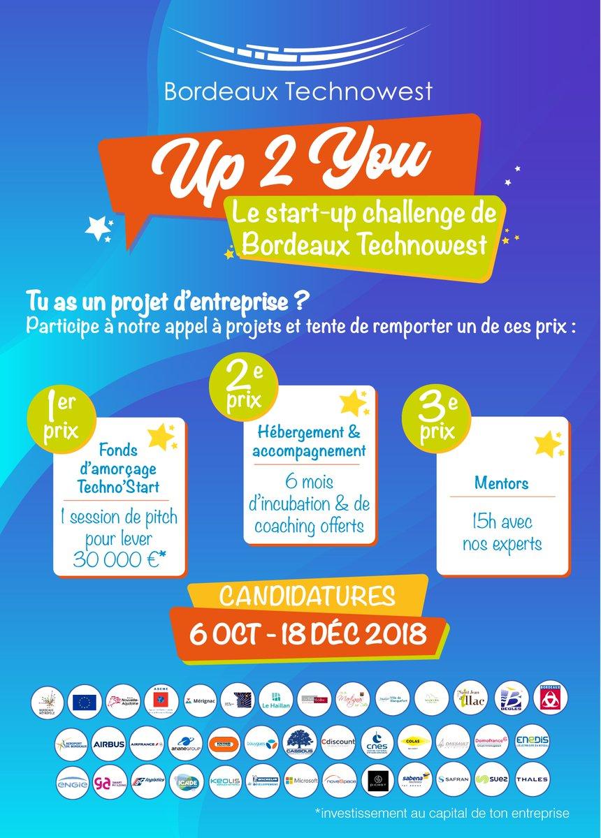 📢 #STARTUP, @Bdx_technowest lance Up 2 You, son nouvel appel à candidatures ! N'attendez plus pour rejoindre l'un des 5 (et bientôt 6) sites de la Technopole de la métropole bordelaise ! 🤩😍Vous avez jusqu'au 18 décembre pour candidater >>  https://t.co/eXQnhxMqgL ! #Up2YouBTW
